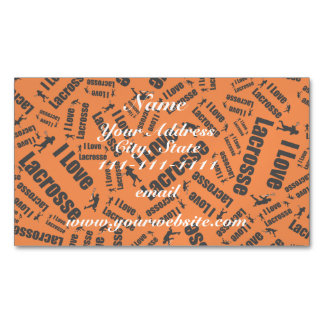 Orange I love lacrosse Magnetic Business Cards (Pack Of 25)