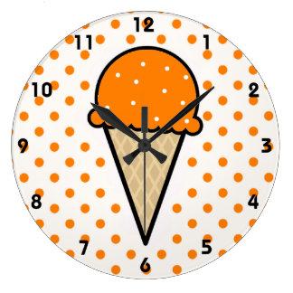 Orange Ice Cream Cone Large Clock