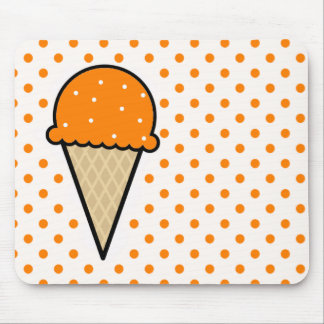 Orange Ice Cream Cone Mouse Mat