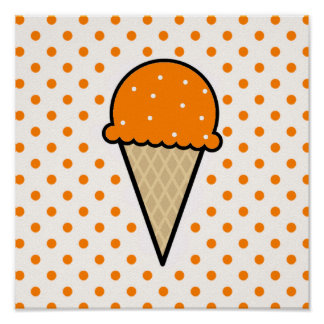 Orange Ice Cream Cone Poster