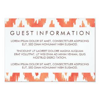 Orange Ikat Guest Information 9 Cm X 13 Cm Invitation Card