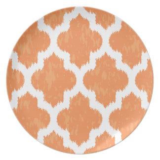 Orange Ikat Quatrefoil Classic Modern Geometric Plate