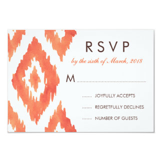 Orange Ikat RSVP 9 Cm X 13 Cm Invitation Card