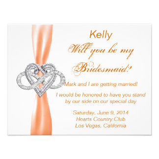 Orange Infinity Heart Bridesmaid Card