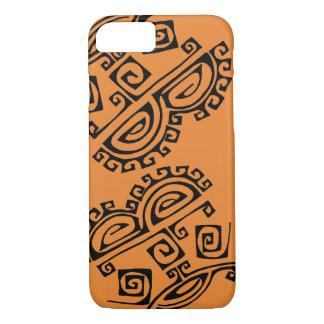 Orange iphone case with a pseudo-Aztec design