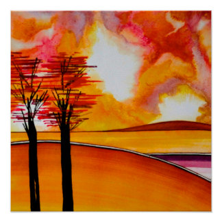 "Orange Island Abstract Art Poster/print 24x24"" Poster"