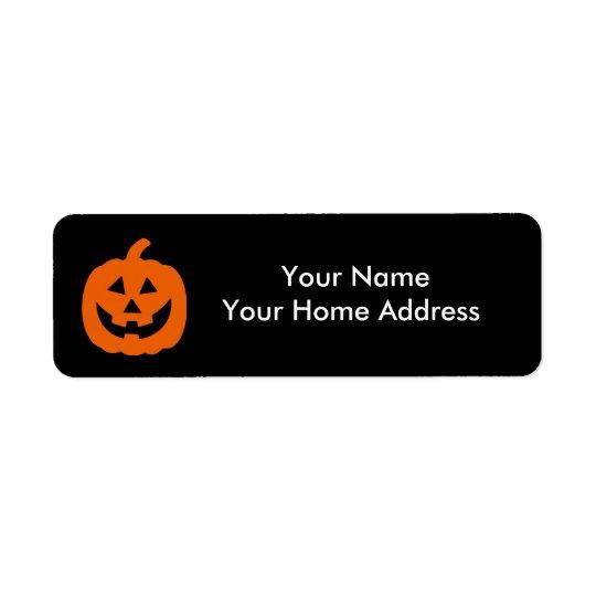 Orange Jack-O-Lantern Halloween Theme Return Address Label