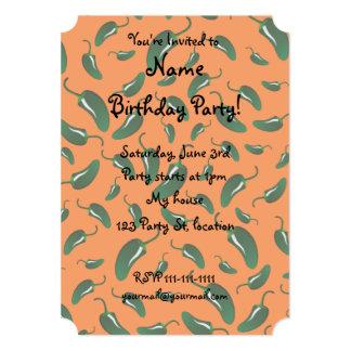 Orange jalapeno peppers pattern 5x7 paper invitation card