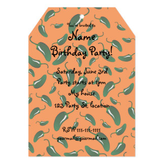 Orange jalapeno peppers pattern 13 cm x 18 cm invitation card