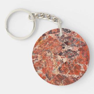 Orange Jasper Stone Image Double-Sided Round Acrylic Key Ring