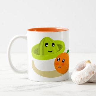 Orange Juice (Orange and Squeezer) Two-Tone Coffee Mug