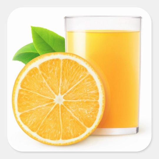 Orange juice square sticker