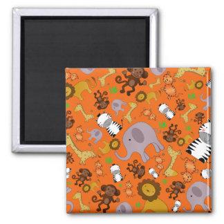 Orange jungle safari animals magnet