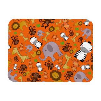 Orange jungle safari animals rectangular magnet