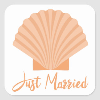 Orange Just Married Seashell Nautical Wedding Square Sticker