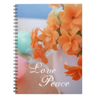Orange Kalanchoe Flower Photo With Love Peace Notebook