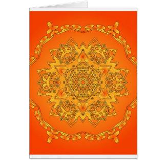 Orange Kaleidoscope: Hexagonal Artwork: Greeting Card