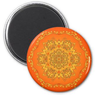 Orange Kaleidoscope: Hexagonal Artwork: Magnet