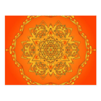 Orange Kaleidoscope: Hexagonal Artwork: Postcard