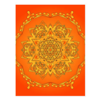Orange Kaleidoscope: Hexagonal Artwork: Post Card