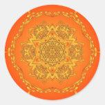 Orange Kaleidoscope: Hexagonal Artwork: Round Stickers
