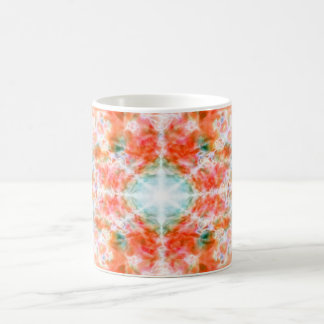 Orange kaleidoscope pattern coffee mug