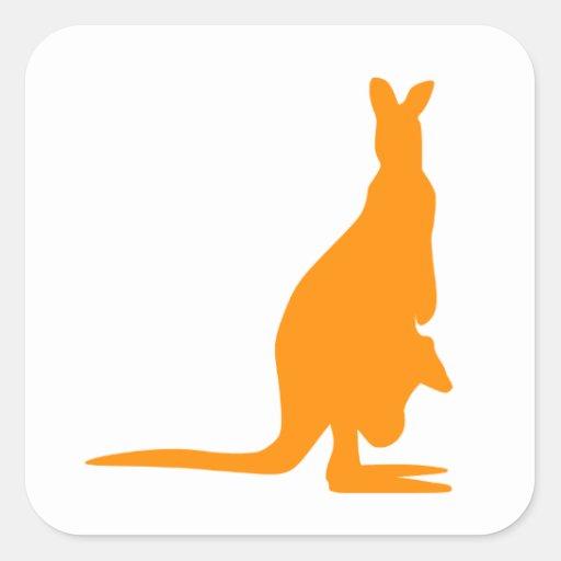 Orange Kangaroo Silhouette Sticker