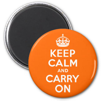 Orange Keep Calm and Carry On 6 Cm Round Magnet