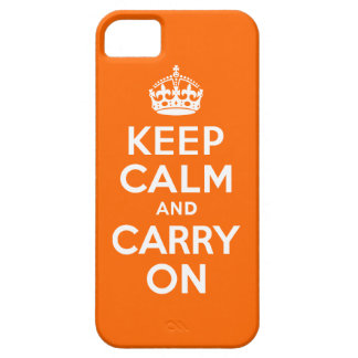 Orange Keep Calm and Carry On iPhone 5 Cases