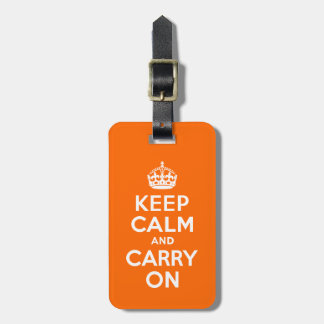 Orange Keep Calm and Carry On Luggage Tag