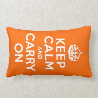Orange Keep Calm and Carry On Lumbar Cushion