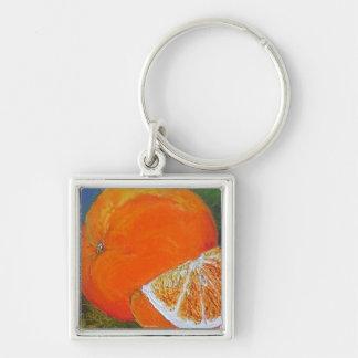 Orange Silver-Colored Square Key Ring