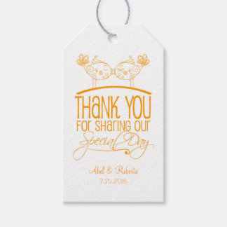 Orange Kissing Birds Wedding Thank You Tags