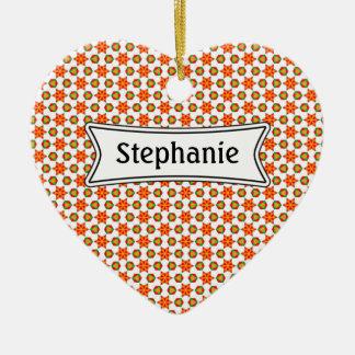 Orange Kitsch stars and spots pattern Ceramic Heart Decoration