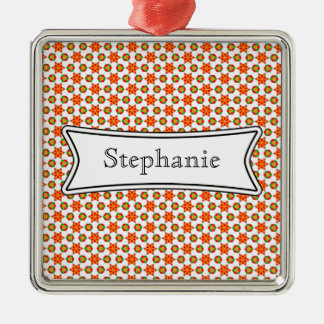 Orange Kitsch stars and spots pattern Silver-Colored Square Decoration