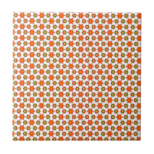 Orange Kitsch stars and spots pattern Small Square