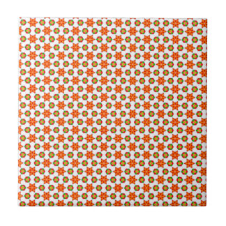 Orange Kitsch stars and spots pattern Tile