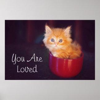 Orange Kitten In A Red Mug Poster