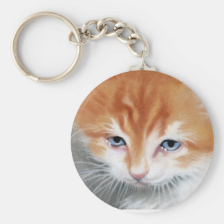 Orange kitty blue eyes keychain