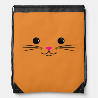 Orange Kitty Cat Cute Animal Face Design Rucksack