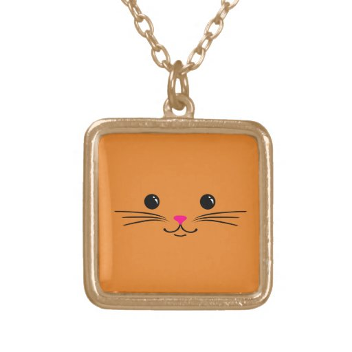 Orange Kitty Cat Cute Animal Face Design Personalized Necklace