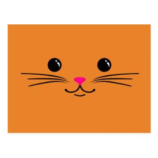 Orange Kitty Cat Cute Animal Face Design Postcard