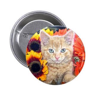 Orange Kitty Cat Kitten ~ Blue Eyes ~ Sunflowers 6 Cm Round Badge