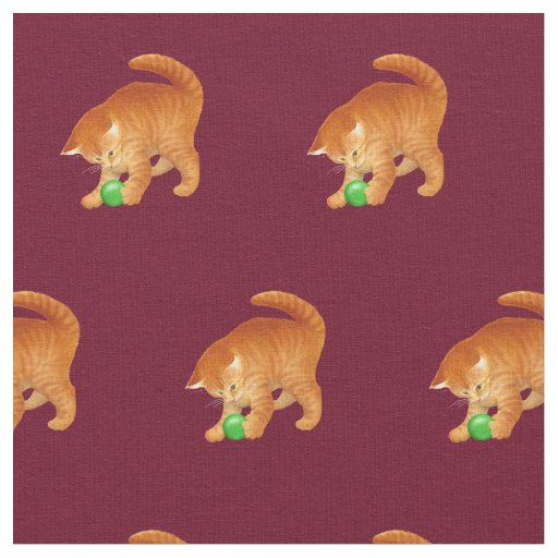 Orange Kitty Cat Playing with Ball Fabric