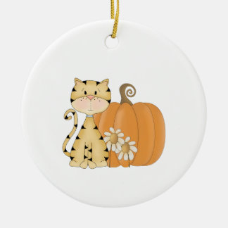 Orange Kitty w/ Pumpkin Round Ceramic Decoration