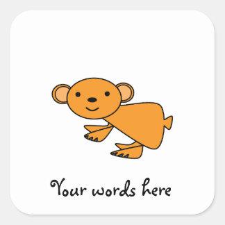 Orange koala square sticker