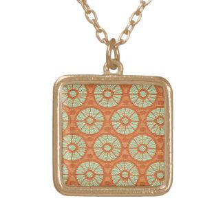 Orange Lace Circles Square Pendant Necklace