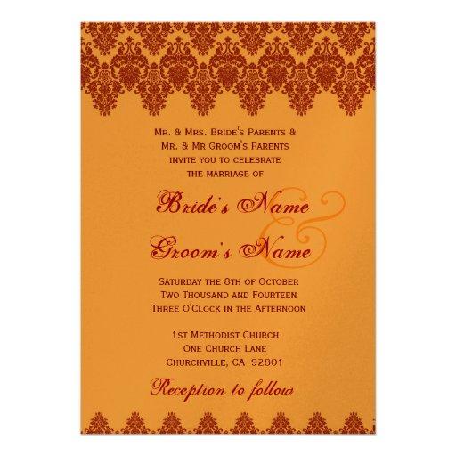 Orange Lace Damask Wedding Premium Gold Metallic Invitation