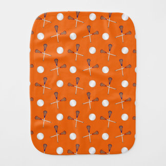 Orange lacrosse pattern burp cloth