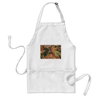 Orange Large red and ivory flowers on black flower Standard Apron